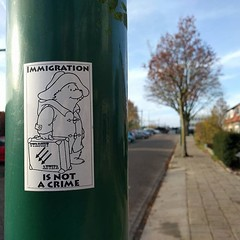 Immigration is not a crime #Paddington #StreetArt #stickers #StickerArt #antifa