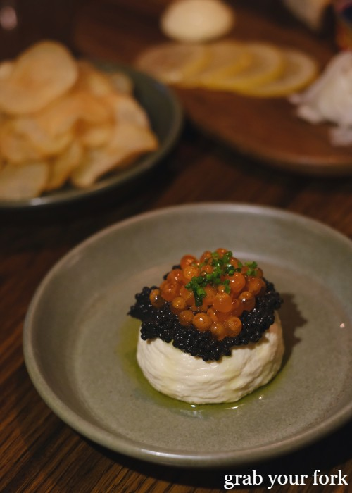 Trout roe with crispy potato at The Kittyhawk in Sydney