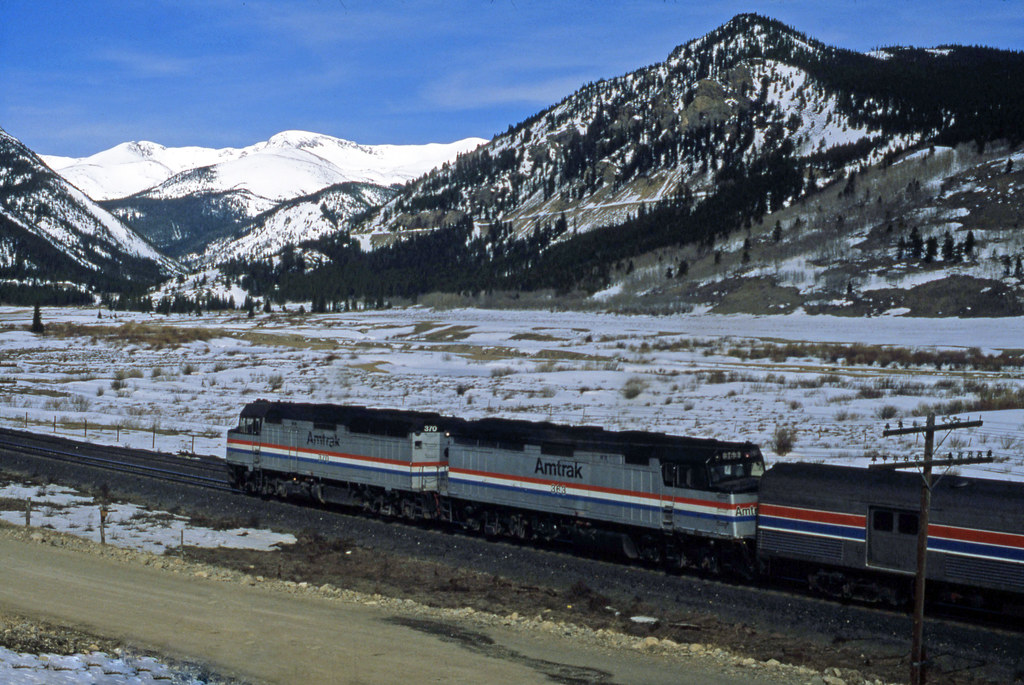 06168 (1034) 09-05-1984 Amtrak westbound Californian Zephyr (passenger train) lead by diesel locomotives 370 + 363 in the Tolland area west of Denver, Colorado, United States of America by John Ward