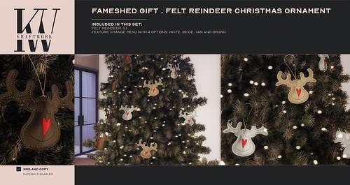 Fameshed GIFT KraftWork Felt Reindeers Christmas Ornaments