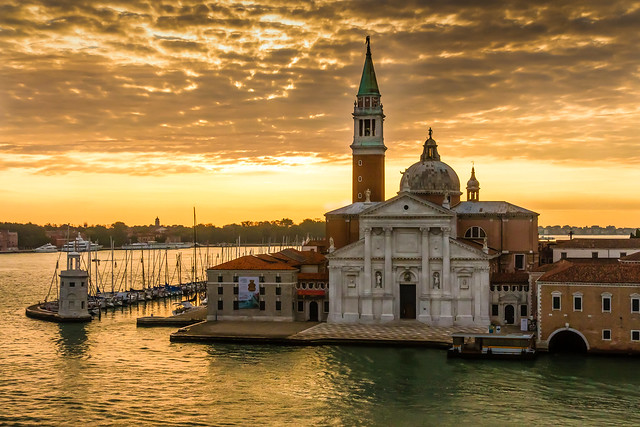Sailing into the Canale Grande in Venice at sunrise