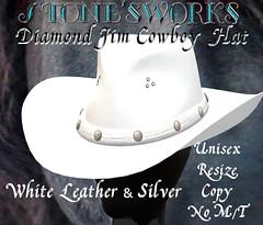 Diamond Jim Wht Leather Silver Stone's Works