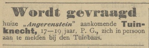 Advertentie in de Arnhemsche Courant 10-2-1909