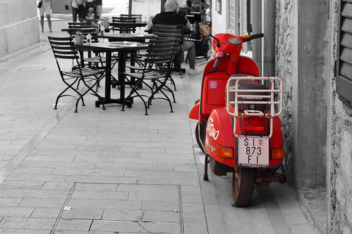 gimp scooter dslr selectivecolor apsc digitalphotoprofessional canoneosrebelt5i canonefs1855mmf3556isstm wacomctl471l street red people building tables chairs europe croatia skradin faved 50view 2fav 100view 3fav 1cmt 5fav 2cmt 250view 10fav 3cmt 100v10f 500view
