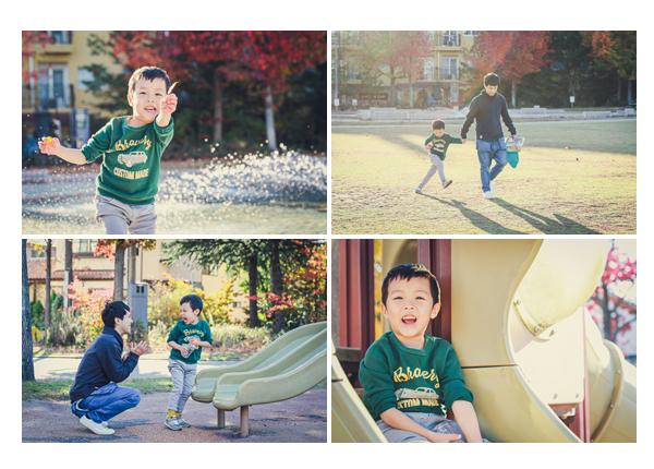 秋色に染まった公園 芝生 すべり台で遊ぶ男の子 ミササガパーク(愛知県刈谷市)