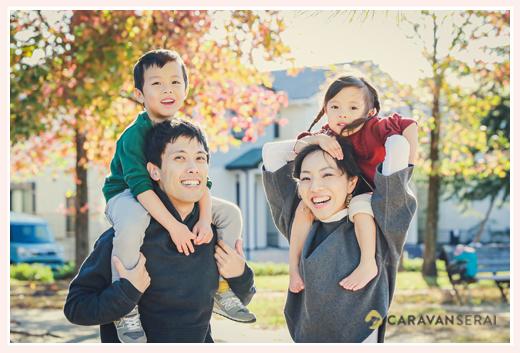 出張専門カメラマンが撮るファミリーフォト 秋の公園 肩車 ミササガパーク(愛知県刈谷市)