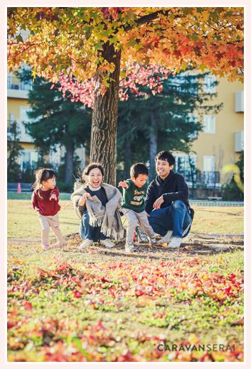 紅葉で色づいた秋の公園 ファミリーフォトのロケーション撮影 ミササガパーク(愛知県刈谷市)