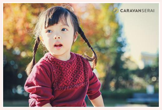 紅葉 秋の公園で遊ぶおさげ髪の女の子 ミササガパーク(愛知県刈谷市)