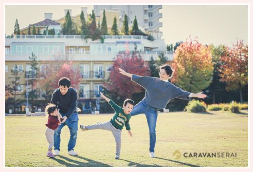 ミササガパーク(愛知県刈谷市)で家族写真のロケーション撮影