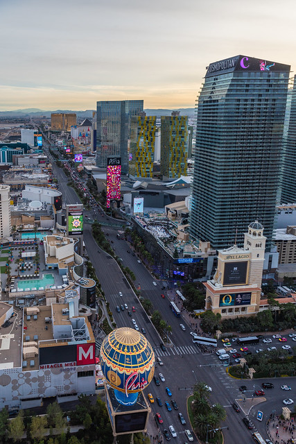 View of the Las Vegas Strip from Paris Las Vegas Eiffel Tower