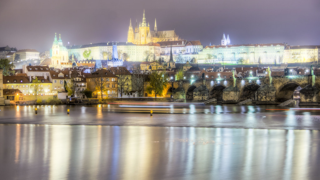 Prague Castle and Charles Bridge on the Vltava River