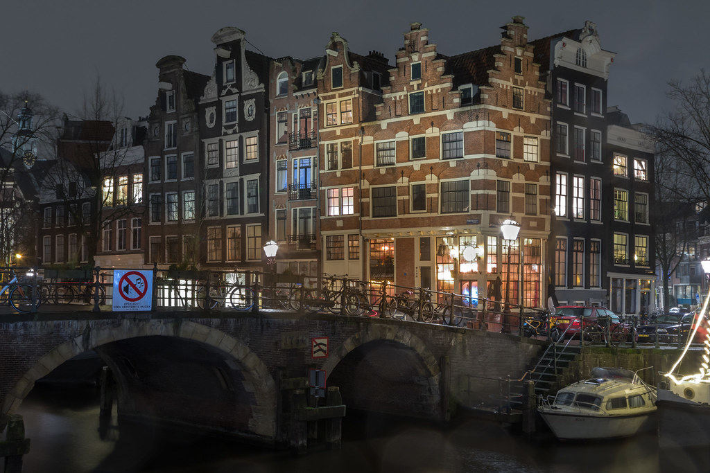 Amsterdam on a cold and rainy night
