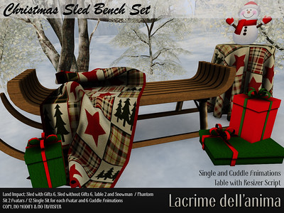 Christmas Sled Bench Set - GIFT
