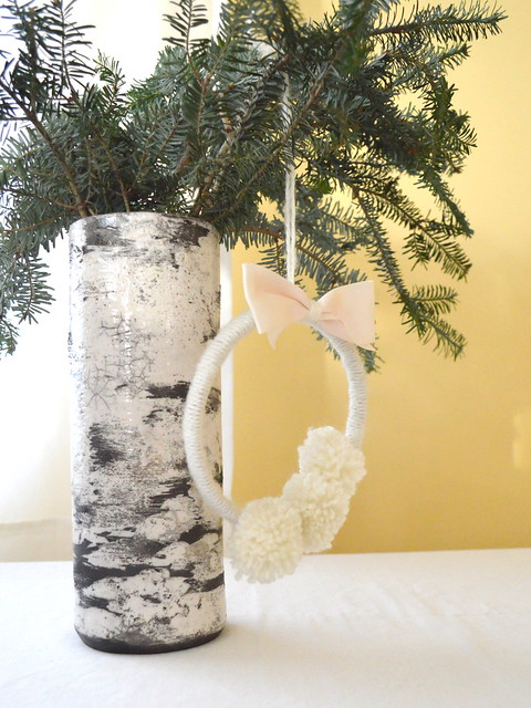 Yarn Wreath on Vase w Spruce Branches