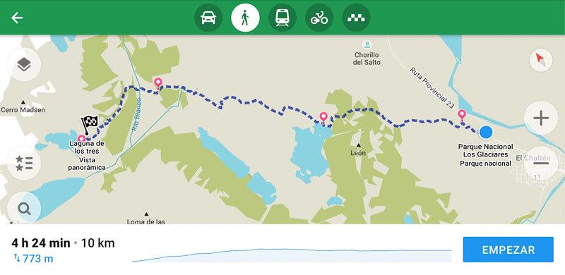 Mapa trekking Fitz Roy