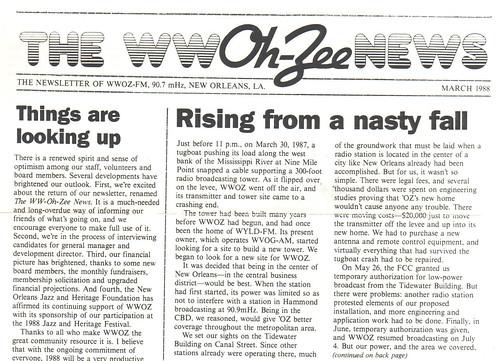 WWOZ newsletter - March 1988