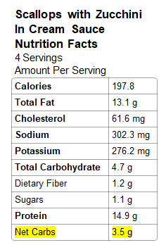 Image: Scallops filling nutrition info
