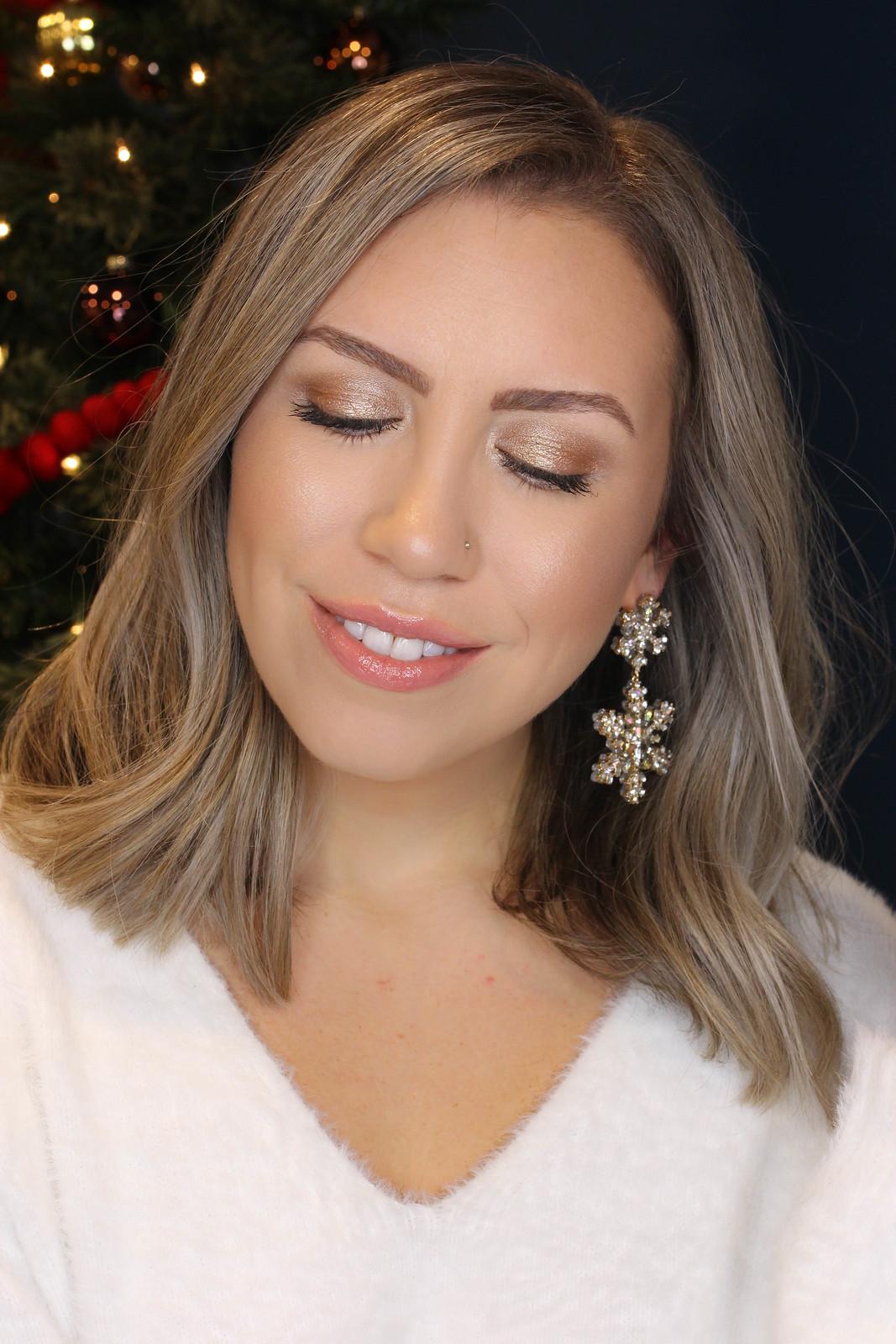 Gold Shimmery Eye Makeup Holiday Makeup Look