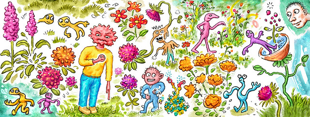 Surreal whimsy drawing with various characters amongst flowers & plants