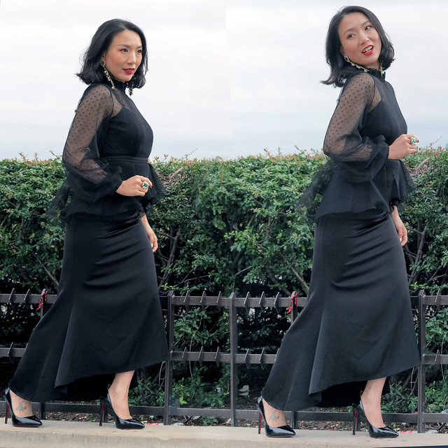 The shooting of an Asian model in a black evening dress