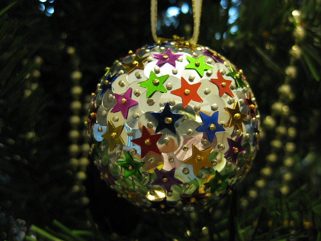 Hand Beaded Silver and Gold, Purple, Green, Red and Blue Star Christmas Bauble