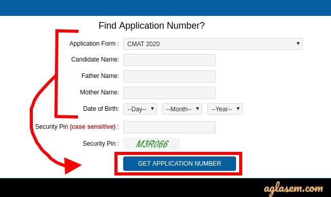CMAT 2020 Forgot application number