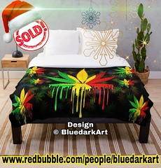 🌟 25-60% off with code CYBERDEALS. Last #chance to get gifts by #Christmas!🎄🌟 👉 www.redbubble.com/people/bluedarkart 🌟 SOLD two! Thank Toi! #marijuana #leaf #rasta #dripping #paint #throwblankets