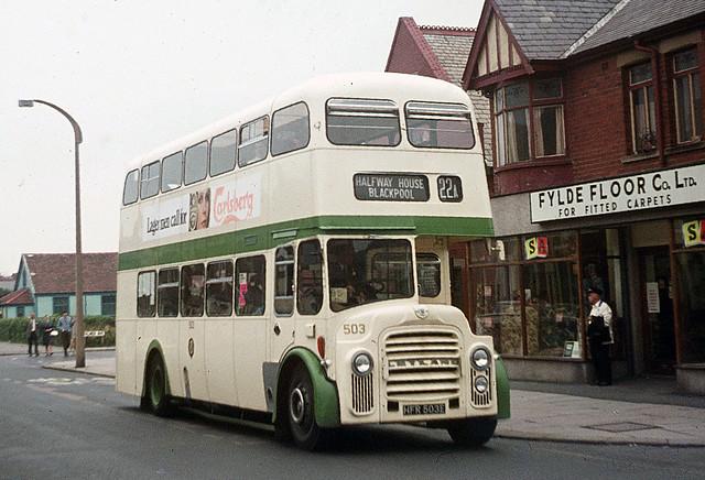Blackpool Corporation Transport . 503 HFR503E . Blackpool , Lancashire . Sunday 31st-August-1969 .