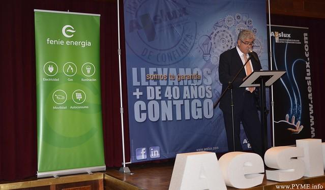 José Luis Sánchez Iglesias, durante su intervención, en la cena de Navidad posterior a la Asamblea General de AESLUX.