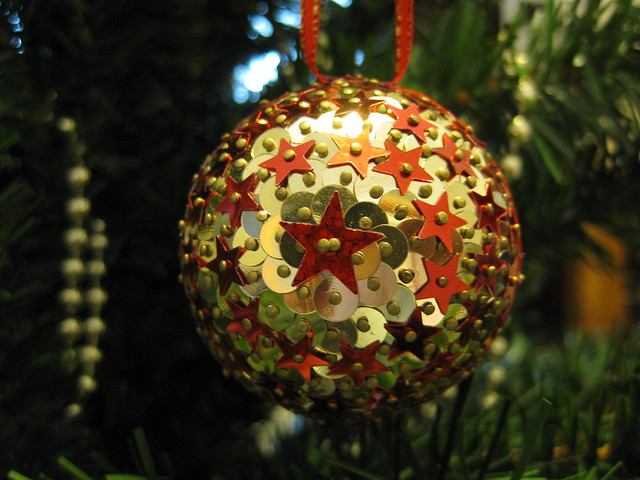 Hand Beaded Gold and Red Star Christmas Bauble