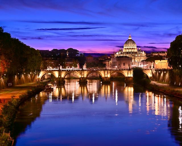 Hora mágica desde el puente de Umberto I