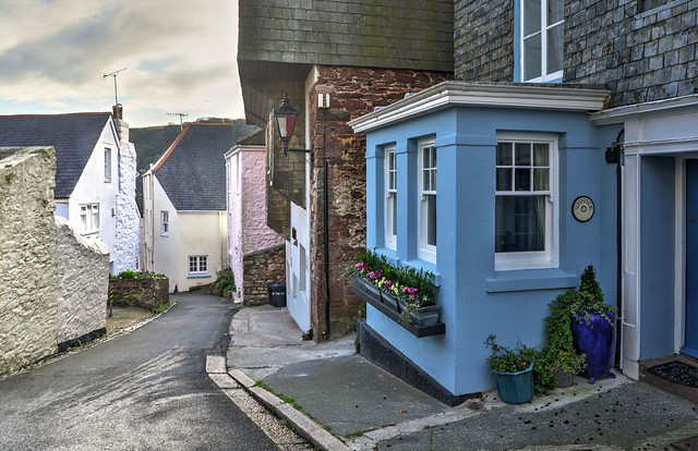 Narrow lane in Kingsand, Cornwall