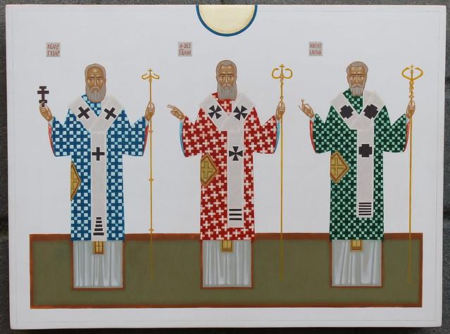 портрети Л. Гузара, А. Шептицького та Й. Сліпого