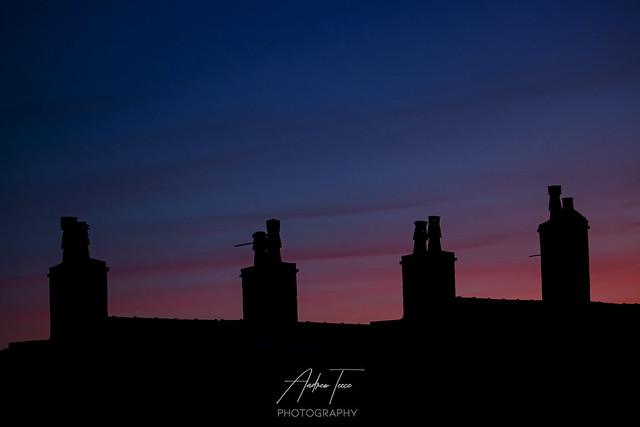 Chimneys at dusk