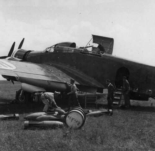 Italian Savoia-Marchetti SM-79 Sparviero loading Bombs 28th June 1940.
