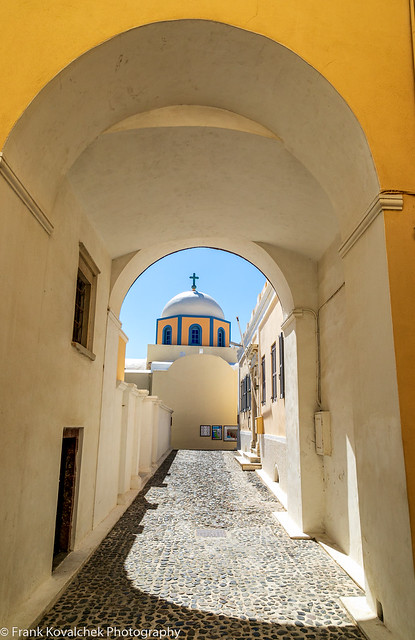 Alley leading to a church on Santorini