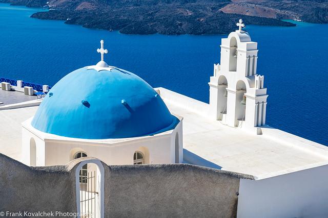 So many blue domed churches on Santorini
