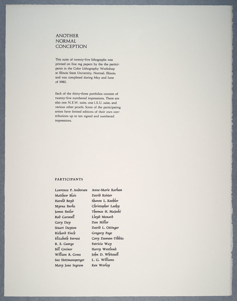 Colophon page from Another Normal Conception portfolio