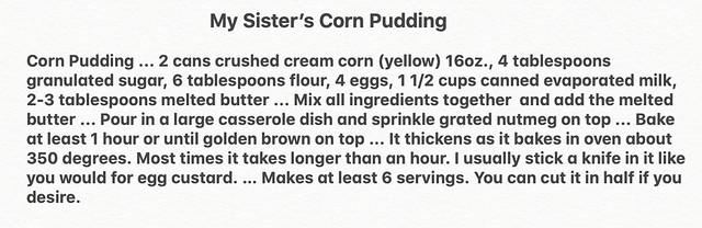 My Sister's Corn Pudding