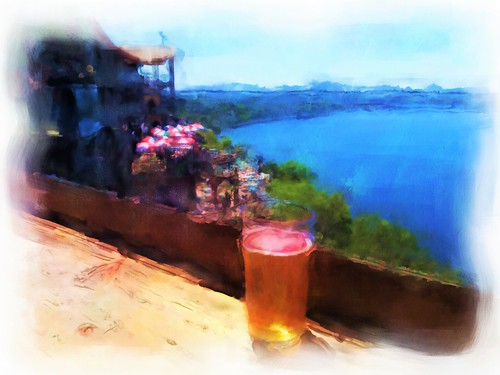 beer lake water oasis painterly austin texas bar umbrellas artistic