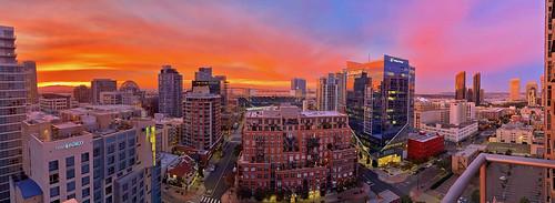 sandiego sandiegocalifornia california downtownsandiego cityscape cityscapes sunrise petcopark coronadobridge hotelindigo san diego sandiegocentrallibrary sempraenergy iphone