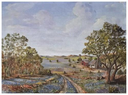 painting oilpainting ruralscene landscape easttexas bucolic iphonese snapseed editedbystevefrenkel flowers trees buildings