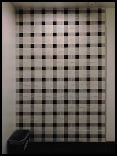 Plaid-Tile-Wall-Design-inside Mens bathroom on Microsoft's REDMOND campus