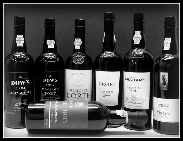 A few of the many Vintage Ports in the racks.....1983 to 2003 on display !