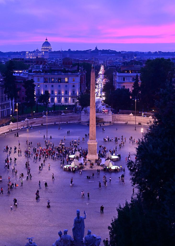Piazza del Popolo desde el mirador de Pinzio