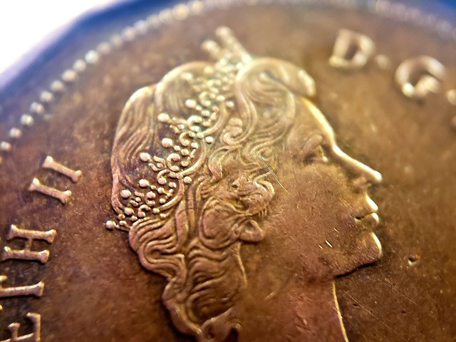 Queen Elizabeth II on Canadian 1c coin . with DIY Macro Lens