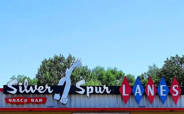 WY, Lander-U.S. 287 Silver Spur Lanes Neon Sign