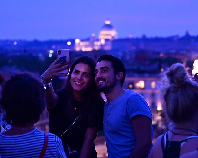 Mirador de Pinzio al atardecer en Roma