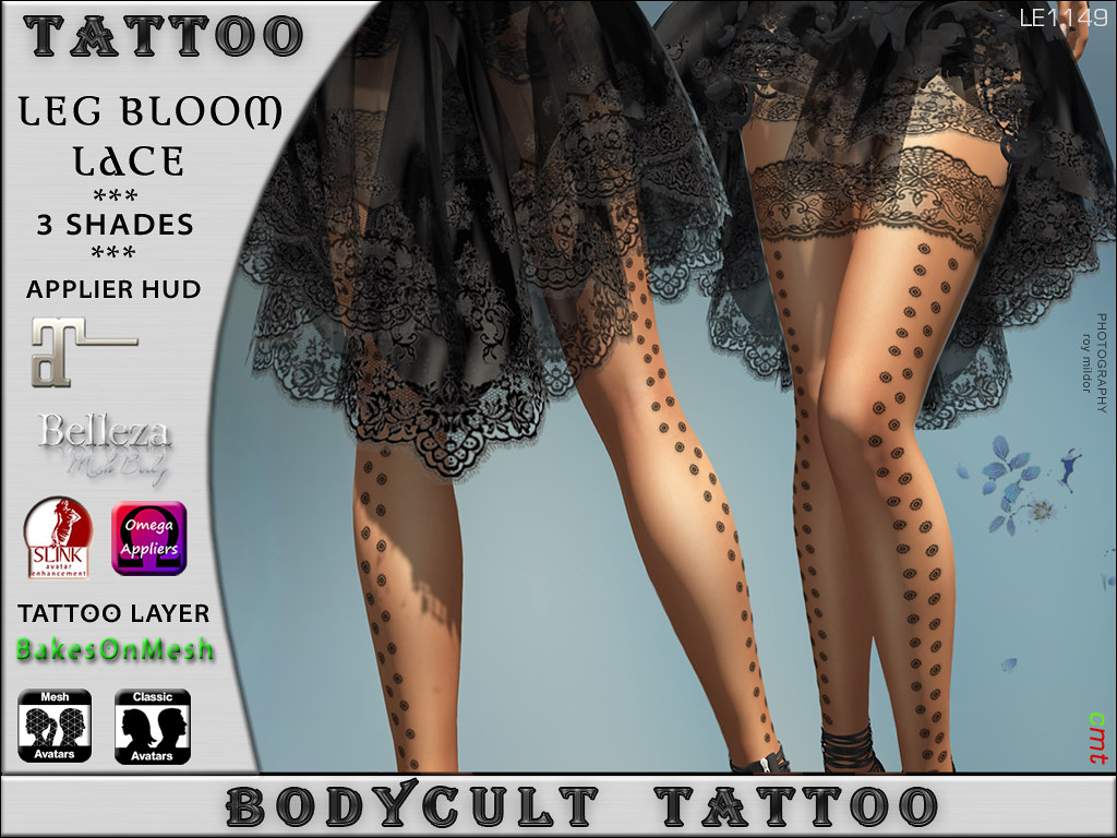 BodyCult Tattoo LEG Bloom Lace – Prada Event