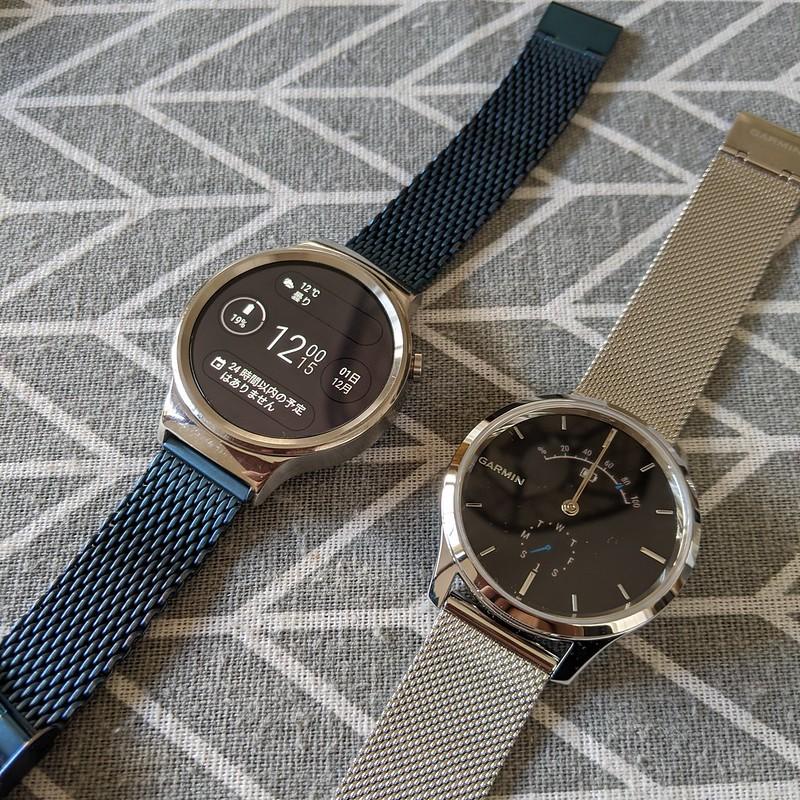 GARMIN vívomove LuxeとHuawei Watch W1(屋内、アクティブ時)